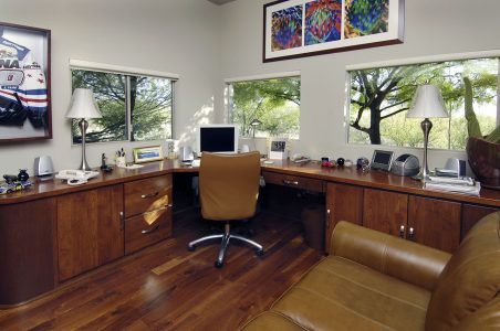 This desk is built in to provide maximum storage and floor space.