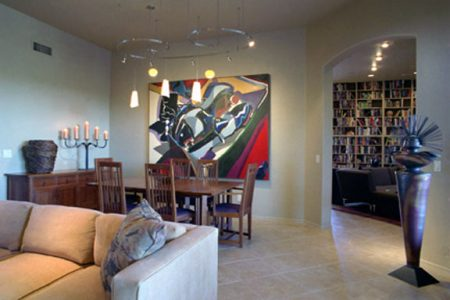 Characteristics of this space are the contemporary canvas original artwork and sculpture.