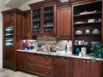 Stack stone backsplash compliments the Lava Granite counter at the Wine Bar.