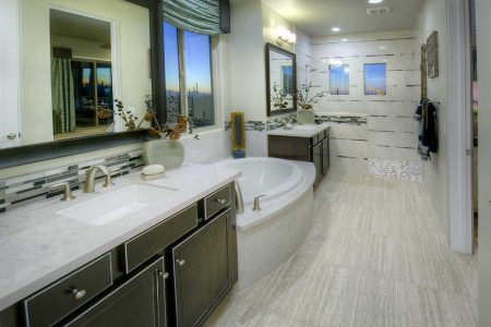 Master Bathroom with a luxurious soaking tub and spacious shower, designed in mind to imagine yourself soaking in this bathroom.